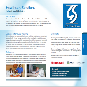 Electronic Patient Meal Ordering Solution Brochure
